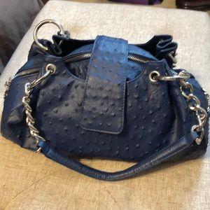 Isabella Adams blue ostrich shoulder bag